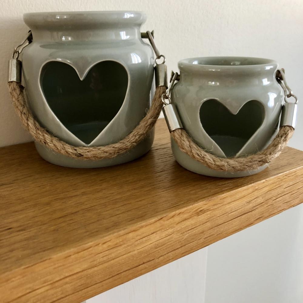 Large Grey Porcelain Tea Light Holder 10cm With Rope
